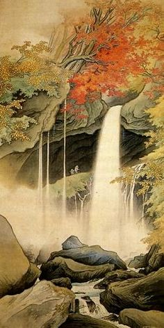 KAWAI Gyokudo (1873-1957), Japan 川合玉堂 ) was the pseudonym of a Japanese painter in the nihonga school, active from Meiji through Shōwa period Japan. His real name was Kawai Yoshisaburō. Gyokudō is noted for his polychrome and occasionally monochrome works depicting the mountains and rivers of Japan in the four seasons, with humans and animals shown as part of the natural landscape.