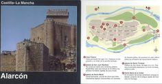 Folleto turístico de Alarcón, Cuenca, Arte, gastronomía, artesanía, fiestas... y plano de situación de los principales monumentos. Infotur Castilla-La Mancha, 1997. #Cuenca #Alarcón #Turismo