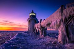 Image result for St. Joseph Lighthouse covered in ice