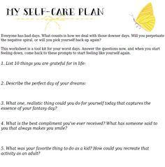 Self esteem/efficacy *: Your Self-Care Action Plan - A Free, Printable Worksheet Self Care Worksheets, Counseling Worksheets, Therapy Worksheets, Counseling Activities, Therapy Activities, Wellness Activities, Wellness Recovery Action Plan, Affirmations, To Do Planner