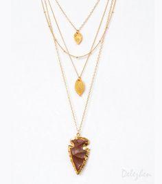SUMMER SALE - Layered Necklace Set - Set of 4 - Agate Arrowhead Necklace - Layering Necklaces - Gold Necklace - Layering Set - Boho Chic - S