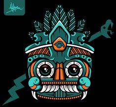 Tlaloc T-Shirt by Aled Anaya, via Behance Mexican Designs, Aztec Designs, Psy Art, Aztec Art, Chicano Art, Mexican Art, Collage Art, Vector Art, Art Drawings