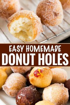 The tastiest homemade donut holes, ready in about 30 minutes, with no rolling or yeast to deal with. Mix, fry, eat! Breakfast is served! #breakfast #donut #doughnut #homemade #donutholes #easyrecipe
