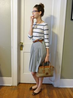 pleated skirt, striped tee