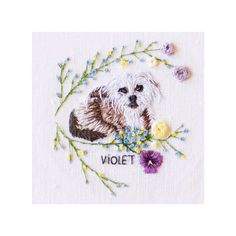 Custom made embroidery portrait of a dog named violet. I had so much fun making this! #embroidery #needlepoint #dog #needleart #handmade #needlepaint #animals #botanical