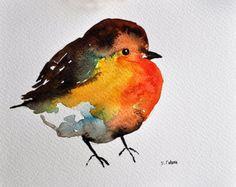 Pintura de acuarela ORIGINAL Robin pájaro retrato por ArtCornerShop