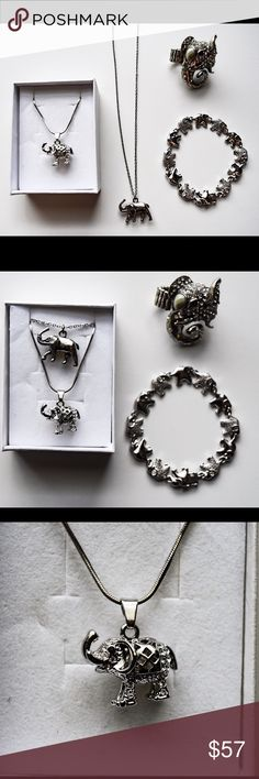 VINTAGE ELEPHANT JEWELRY ALL ITEMS ARE VINTAGE--- got both necklaces in Budapest, ring in Prague, and the bracelet in Brooklyn 🐘❤ The price reflects all items together-- Let me know if you want to purchase anything separately. Vintage Jewelry Necklaces