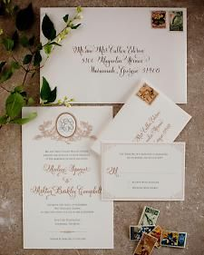 Antique elements inspire this collection of wedding stationery.