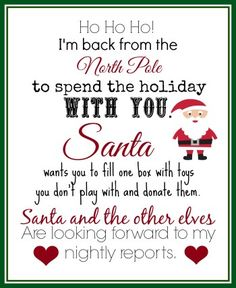 This free printable Elf returns letter is great for the Elf on the Shelf's return. The elf leaves a box for the kids to fill with unused toys. PUT THAT ELF TO GOOD USE! Elf Letters, Santa Letter, Der Elf, Christmas Elf, Christmas Ideas, Holiday Ideas, Christmas Traditions, Holiday Fun, Christmas Decor