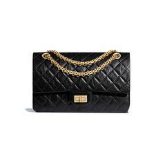 cdf5f5c153 Aged Calfskin   Gold-Tone Metal Black 2.55 Handbag