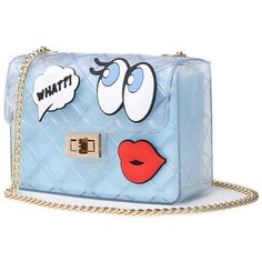 Sheer Fabric Cartoon Chain Crossbody Bag (€31) ❤ liked on Polyvore featuring bags, handbags, shoulder bags, blue handbags, blue crossbody handbag, chain purse, chain shoulder bag and blue crossbody purse