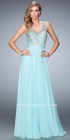 Scalloped Halter Crystalized Prom Dress By La Femme #edressme