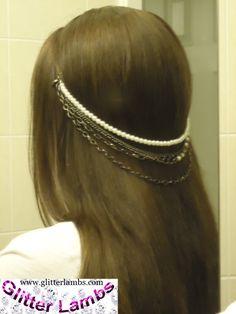 Wedding Hair Accessories Glitter Lambs: How To Make A Hair Necklace- DIY Hair Accessories Hair Necklace, Hair Jewelry, Bridal Jewelry, Hair Beads, Diy Hair Accessories, Unique Hairstyles, How To Make Hair, Hair Pieces, Hair Clips