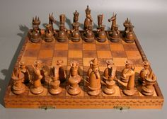 Chess set ca. 20th century. Made in Russia out of wood.