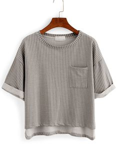 Online shopping for Vertical Striped High-Low Pocket T-shirt - Grey from a great selection of women's fashion clothing & more at MakeMeChic.COM.