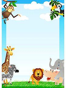 Un papier à lettre décoré par des animaux de la jungle