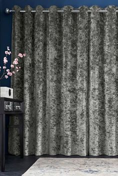 Buy Grey Crushed Velvet Eyelet Curtains - 110-557 | Next UK