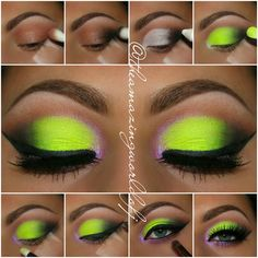 Love the eye makeup Eye Makeup Steps, Makeup Eye Looks, Beautiful Eye Makeup, Eye Makeup Art, Makeup Geek, Eyeshadow Makeup, Neon Eyeshadow, Beautiful Eyes, Green Makeup
