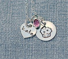 Cupcake Personalized Necklace Hand Stamped by 3LittlePixiesShoppe, $38.00