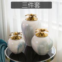 新中式现代欧式欧美样板间客厅家居饰品新房装饰品陶瓷储物罐摆件-淘宝网