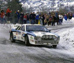 Salvador Serviá, en el Rally de Montecarlo con su Lancia pro del Grupo B.