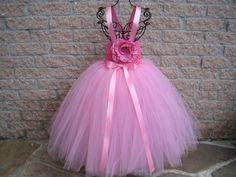 Tutu Dress, COTTON CANDY PINK, Elastic Bodice, Crochet-Style,  Size 1-4, Toddler Girls