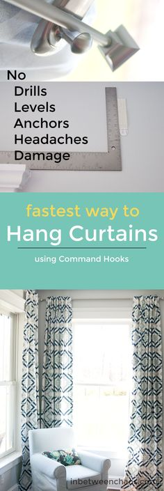 Command hooks aren't just for renters! Hang your curtains quickly the easy way! | inbetweenchaos.com