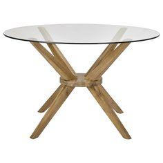 Table de salle à manger ronde en bois d'acacia et en verre