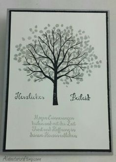 Beileidskarte /Sympathy card  Stampin up  Stempelsets/Stamp sets   Baum der Freundschaft/Sheltering Tree, Wo die Hoffnung blüht/Bloom with Hope  (german)  Farben/Colours:  Schiefergrau/Smoky Slate, Schwarz/Basic Black, Flüsterweiß/Whisper White, Zartrosa/Pink Pirouette