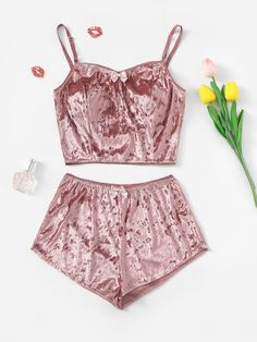 Bow Detail Velvet Cami Pajama Set