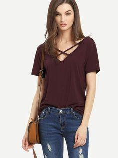 9db57c23437a19 Burgundy Criss Cross Front Casual T-shirt Comfy Fall Clothes