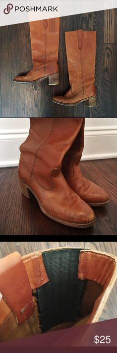 Vintage leather boots These vintage brown leather boots are perfect for fall. Recommended to fit a 6.5. These boots go great with everything! The calves fit snug but have expander. vintage Shoes Heeled Boots