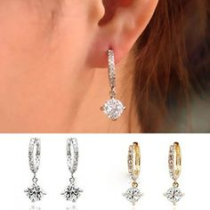 Women Girls Crystal Rhinestone Earrings Ear Hoop Alloy Plated Ear RingSilver >>> More info could be found at the image url.-It is an affiliate link to Amazon.