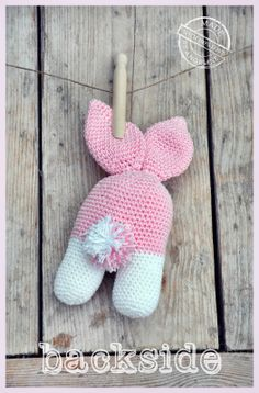 Two legged rattle bunny with link to free pattern