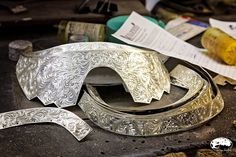 Here are some handmade and hand engraved pieces of custom silver that will soon be added to one of our saddles!  #madeintheusa #handmade #handengraved #harrisleatherandsilverworks photo from:  Seeing Southern