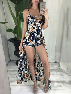 Vintage Floral Print Lace-up Maxi Romper Dress