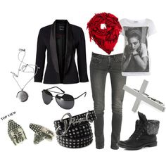 """""""RoxStar Style"""" created by #rox-pappa, #polyvore #fashion #style Miss Selfridge Levi Strauss & Co Dorothy Perkins #1928 River Island #Diesel long pendant necklaces aviator sunglasses boyfriend blazers #madonna red scarf cross ring leather belts #booties"""