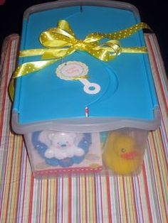 Box 'O Baby Essentials Baby Shower Gift Idea ~ Nice Organizer Bin, Diapers, pack of baby wipes, pacifiers, Teething ring, a rubber duckie, small toys, etc... easy to customize!