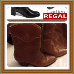 """HP 7/21, 2/7 REGAL WOMEN LEATHER BOOTS ⛔️REDUCED ⛔️ Was $100 Now $69.  Brown leather. Inside zip. Leather soles. 3"""" heel back; from bottom 2"""" heel. Leather has scratches. Size 9.5. Regal Shoes"""