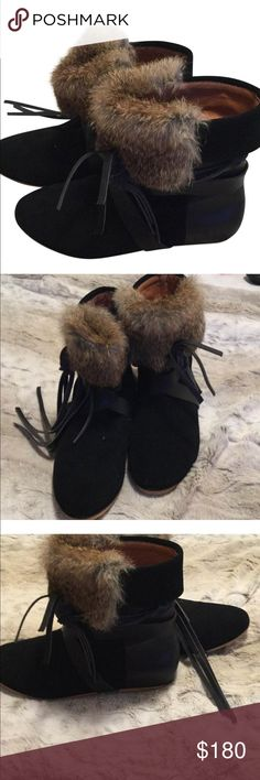 Isabel Marant black suave W/rabbit fur These Isabel Marant size 6, can add style to any cold winters day! These boots are black suede with rabbit fur  lining at the top of the boot. Isabel Marant Shoes Ankle Boots & Booties