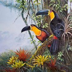 Forest Painting, Forest Art, Rainforest Birds, Animal Posters, Tropical Art, Wildlife Art, Bird Prints, Bird Art, Beautiful Birds