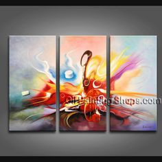 Enchant Modern Abstract Painting Hand-Painted Art Paintings For Living Room Abstract. This 3 panels canvas wall art is hand painted by A.Qiang, instock - $253. To see more, visit OilPaintingShops.com