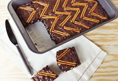 Halfway Homemade: PB & Pretzel Brownies. Chevron brownies! @Holly Hanshew Elkins we should do these for your baby shower...