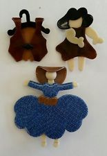 LEA STEIN no reserve 3 THREE LOT  Girl Clothing Hat  PIN FRENCH RESIN PARIS