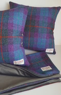 Harris Tweed Cushion Cover - Blue, Grey, Violet Check (Tartan, Plaid) with Red and Green Overcheck and Grey Velvet Backing by LucyWagtail on Etsy