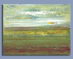 ORIGINAL painting on canvas abstract painting modern art (9x12) acrylic landscape painting of a field
