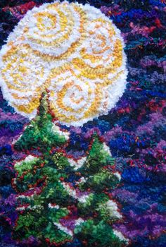 Winter Moonlit Treetops Hand Hooked Rug by HeartWishezStudio