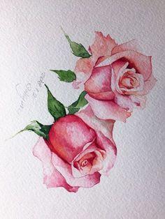 새해 첫 그림.. 내 선택을 받은 분홍빛 로즈~ 스케치 채색 한쪽 장미 채색을 마무리하고보니.. 두번째 장미...
