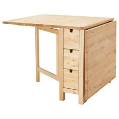 Norden Gateleg table from IKEA. Hands down, best thing I have ever bought from IKEA! I love this table! Norden Gateleg Table, Table Extensible, Ikea Norden Table, Drop Leaf Table, Under The Table, Drawer Fronts, Space Saving, Home Furnishings, Small Spaces