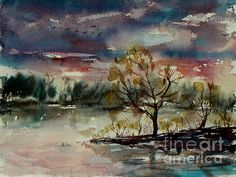 Twilight Serenade II©Xueling Zou; home decor, wall art, gift, greeting cards, posters, prints, original, corporate art, $6.00, for sale, twilight, dusk, sunset,  landscape, autumn, fall, trees, birds, river, lake, serenade, watercolor, watercolour,